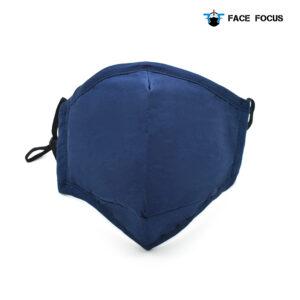 Face Focus Wasbaar Mondkapje Katoen Filter Vormbare Neusbrug Donkerblauw