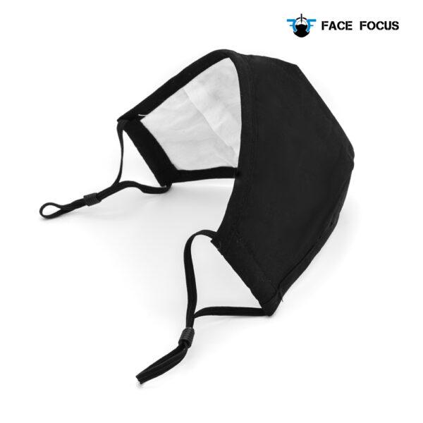 Face Focus Wasbaar Mondkapje Katoen Filter Vormbare Neusbrug Zwart